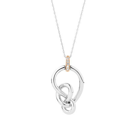 Knots Pendant with Pink Diamonds in Sterling Silver & 10ct Rose Gold