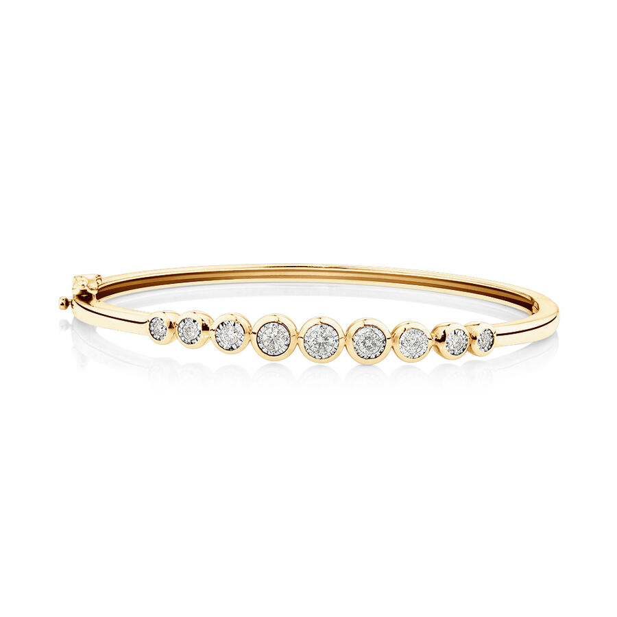 Bangle with 0.50 Carat TW of Diamonds in 10ct Yellow Gold