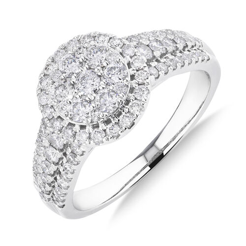 Halo Ring with 1 Carat TW of Diamonds in 10ct White Gold