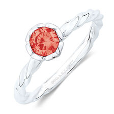 January Stacker Ring with Bright Red Cubic Zirconia in Sterling Silver