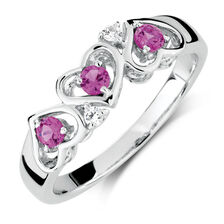 Ring with Created Pink & Created white Sapphires in Sterling Silver