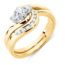 Bridal Set with 1/3 Carat TW of Diamonds in 10ct Yellow & White Gold
