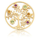 Citrine, Peridot, Rhodolite & 10ct Yellow Gold Tree Coin Locket Insert