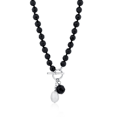 Necklace with Onyx & Cultured Freshwater Pearl with Sterling Silver Clasp