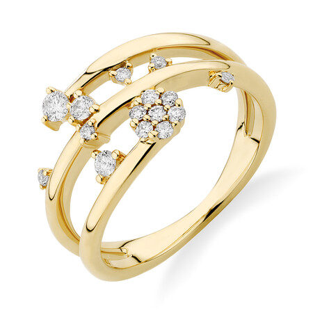 Scatter Ring with 0.25 Carat TW of Diamonds in 10ct Yellow Gold