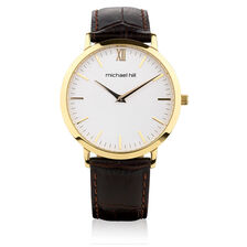 Men's Gold Tone Stainless Steel Watch with Brown Leather