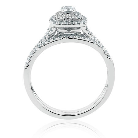 Bridal Set with 0.60 Carat TW of Diamonds in 10ct White Gold