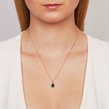 Pendant with Created Emerald & Diamonds in 10ct Yellow & White Gold