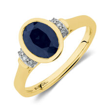0b02a0aae Ring with Created Blue Sapphire & Diamonds in 10ct Yellow ...