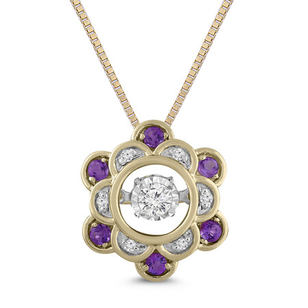 Everlight Pendant with Amethyst and Diamond in 10ct Yellow Gold