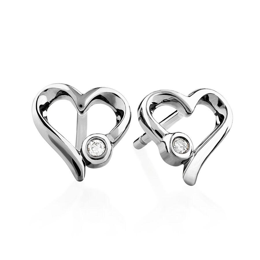 Heart Stud Earrings With Diamonds In Sterling Silver