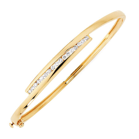 Hinged Bangle with 1/2 Carat TW of Diamonds in 10ct Yellow Gold