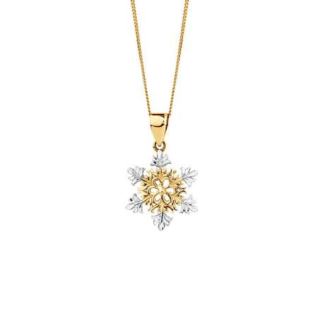 Snowflake Pendant in 10ct Yellow & White Gold