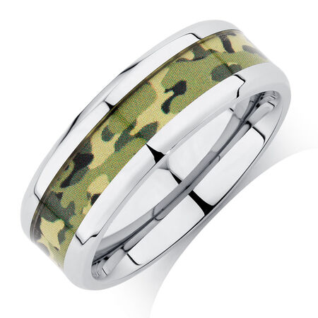 Men's Ring with Camouflage Design in Stainless Steel