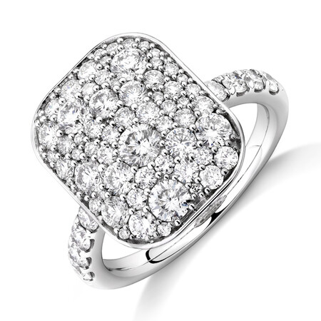 Pave Ring with 2 Carat TW of Diamonds in 14ct White Gold