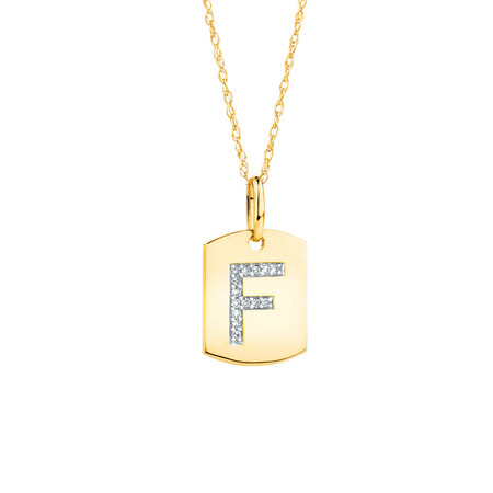 """""""F"""" Initial Rectangular Pendant With Diamonds In 10ct Yellow Gold"""