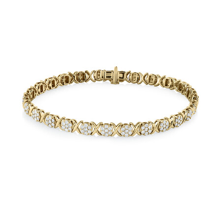 Bracelet With 2 Carat TW of Diamonds In 10ct Yellow Gold