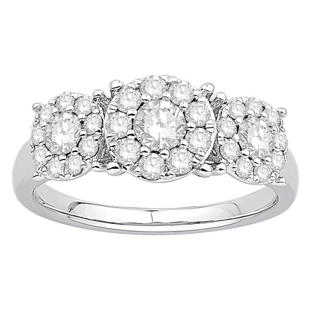 Three Stone Cluster Ring with 1.00 Carat TW of Diamonds in 10ct White Gold