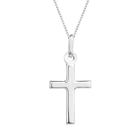 Cross Pendant in 10ct White Gold