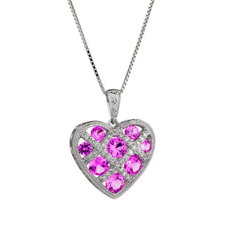 Pendant with Created Pink Sapphire & Diamonds in Sterling Silver