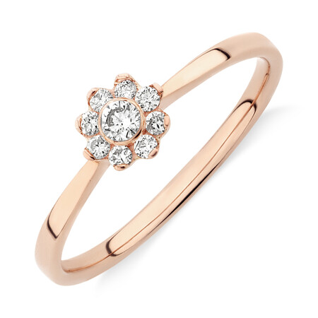 Evermore Promise Ring with 0.15 Carat TW of Diamonds in 10ct Rose Gold