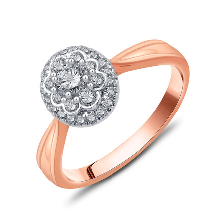 Cluster Ring with 0.48 Carat TW of Diamonds in 10ct Rose & White Gold