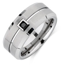 Men's Ring with an Enhanced Black Diamond in White Tungsten