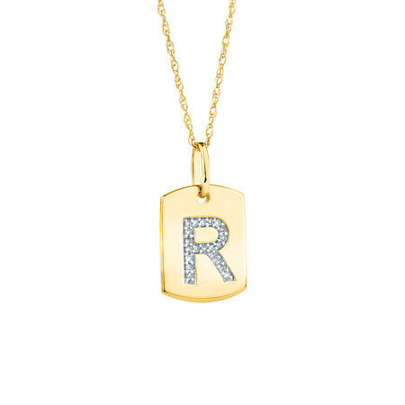 """""""R"""" Initial Rectangular Pendant With Diamonds In 10ct Yellow Gold"""