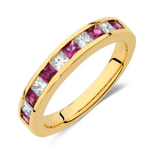 Ring with Ruby & 0.375 Carat TW of Diamonds in 10ct Yellow Gold