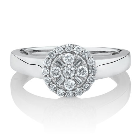 Online Exclusive - Engagement Ring with 0.38 Carat TW of Diamonds in 10ct White Gold