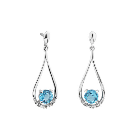 Drop Earrings with Topaz and Diamonds in in 10ct White Gold