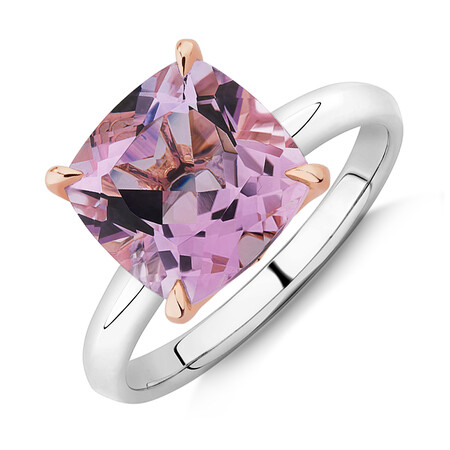 Rose Amethyst Ring in Sterling Silver & 10ct Rose Gold