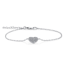 Heart Bracelet with Cubic Zirconias in Sterling Silver