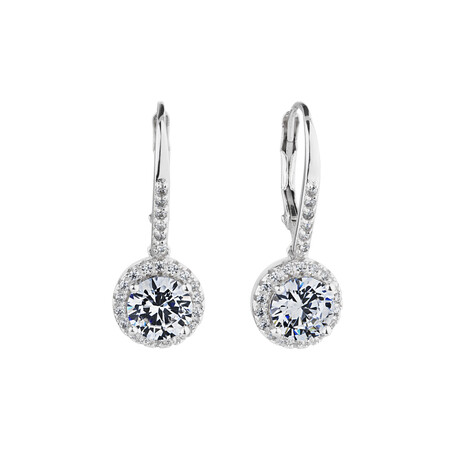 Halo Drop Earrings with Cubic Zirconia in Sterling Silver