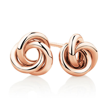 Knot Stud Earrings in 10ct Rose Gold