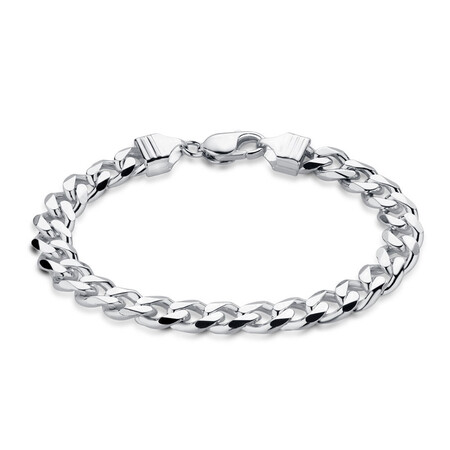 "21cm (8.5"") Men's Curb Bracelet in Sterling Silver"