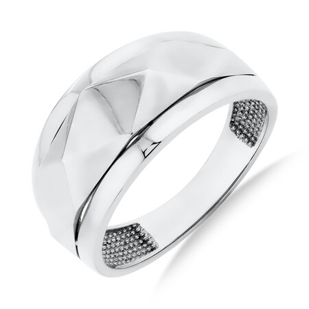 Faceted Ring in 10ct White Gold