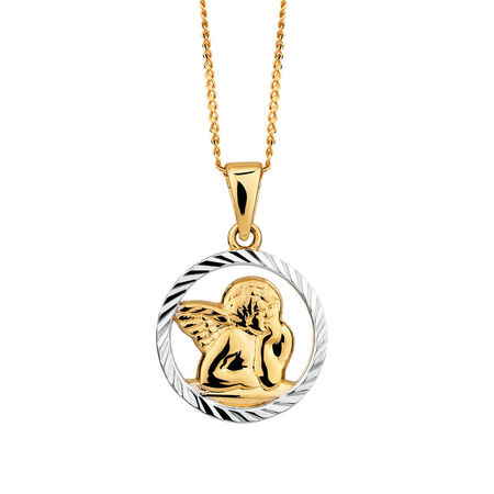 Cherub Pendant in 10ct Yellow & White Gold