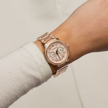 Ladies Multifunction Watch with Cubic Zirconias in Rose Tone Stainless Steel