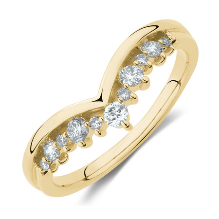 Chevron Ring with 0.25 Carat TW of Diamonds in 10ct Yellow Gold
