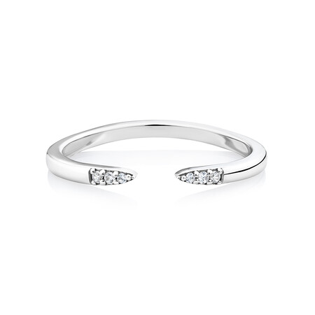 Pointed Open Ring with Cubic Zirconia in Sterling Silver