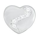 Cubic Zircona Sterling Silver Heart Charm
