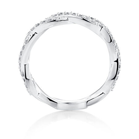 Twist Stacker Ring with White Cubic Zirconia in Sterling Silver