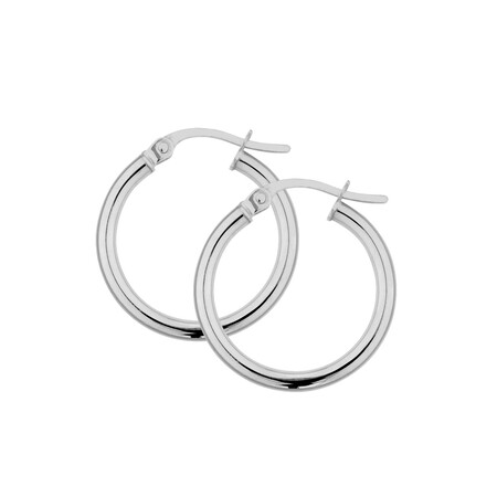 18mm Hoop Earrings in 10ct White Gold