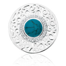 Cubic Zirconia, Turquoise Glass & Sterling Silver Coin Locket Insert