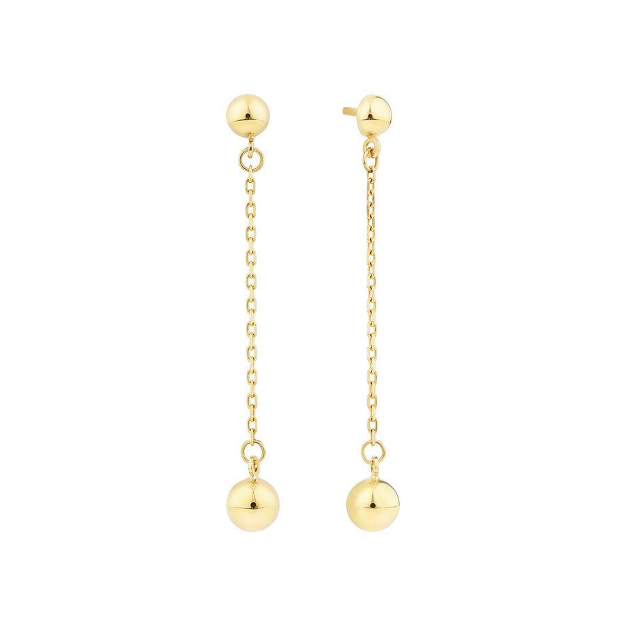 Drop Ball Stud Earrings in 10ct Yellow Gold