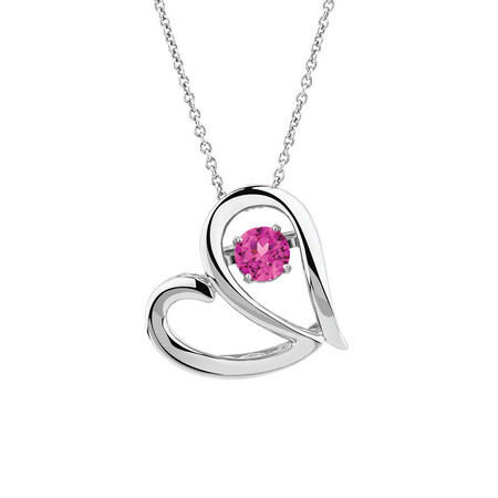 Online Exclusive - Everlight Heart Pendant with Created Pink Sapphire in Sterling Silver