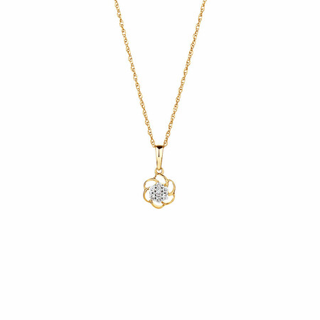 Flower Pendant with Diamonds in 10ct Yellow Gold