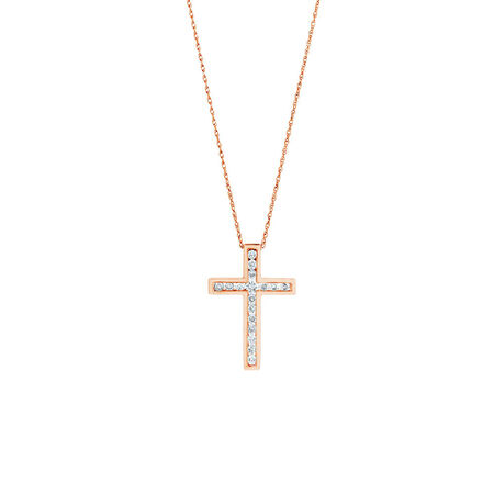 Cross Pendant in 10ct Rose Gold With 0.34 Carat TW of Diamonds