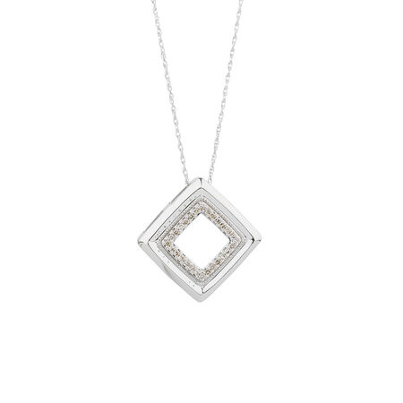 Pendant with 0.12 Carat TW of Diamonds in 10ct White Gold